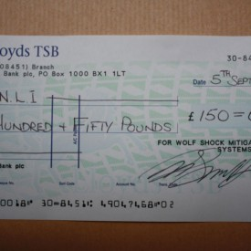 Donation to RNLI which was raised this summer during a BBQ at Trafalgar Wharf, when we sponsored a Pimms Bar